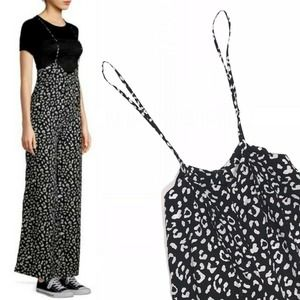 Leopard Print Suspender Wide Leg Jumpsuit Small